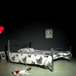 Κρεβάτι Σιδερένιο Διπλό Ασημί