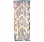 Κουρτίνα Από Ξύλινες Χάντρες Σχέδιο Ζικ Ζαγκ Ακαζού Μπεζ 90x220cm