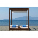Διπλό Κρεβάτι Παραλίας Ξύλινο με Πάσο & Ουρανό Με Κουρτίνα 140x200x200cm