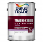 Dulux Trade Weathershield Quick Drying Exterior Satin Βερνικόχρωμα Νερού Σατινέ Λευκό
