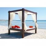 Διπλό Κρεββάτι Παραλίας Ξύλινο Με Ουρανό & Κουρτίνες 220x140x200cm