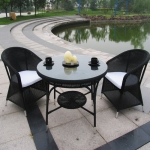 Καθιστικό Αλουμινίου Με Πλέξη Συνθετικού Rattan Μαύρο