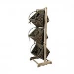 Ξύλινη Φρουτοθήκη Με 3 Ψάθινα Καλάθια Γκρί