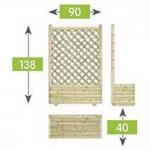 Ζαρτινιέρα Με Πλάτη Πάνελ Διαγώνιο Καρέ 40x90x138cm