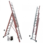 Σκάλα Αλουμινίου Πτυσσόμενη 3X11 Σκαλοπάτια Profal