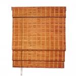 Στόρι Bamboo Roman Με Διακοσμητική Τριπλή Πλέξη Καρυδί