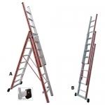 Σκάλα Αλουμινίου Πτυσσόμενη 3X10 Σκαλοπάτια Profal