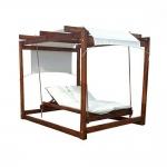 Διπλό Κρεβάτι Παραλίας Ξύλινο Αιωρούμενο Με Ουρανό & Κουρτίνα 180x240x210cm